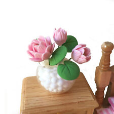 Dollhouse Clay Little Lotus Flower Potting 1:12 Miniature Decor Accessories