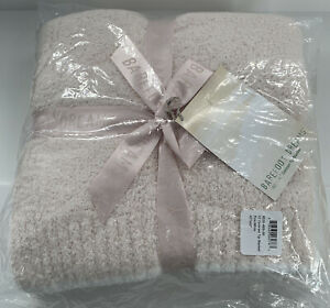 "NWT Barefoot Dreams CozyChic Rib Trim Throw Blanket 45""x 60"" Pink White $120"