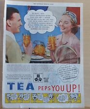 1939 magazine ad for Tea - Tea Peps You Up, Tennis players enjoy Iced Tea