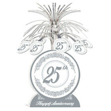 25TH ANNIVERSARY CENTREPIECE PARTY TABLE DECORATION SILVER