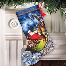 "Dimensions Gold Counted Cross Stitch Kit Stocking 16"" ~ SANTA'S FLIGHT #70-08923"