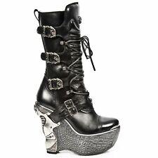 NEWROCK Ladies Leather New Rock PZ003-S4 Black Punk Rock Gothic Wedge Heel Boots