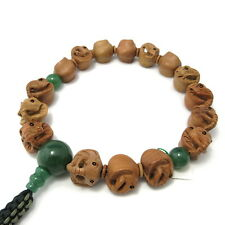 Elephant wood carving with Green Aventurine Japanese Juzu Buddhist Prayer beads