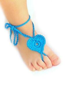 Crochet Heart anklets- barefoot sandals Brand new -OSFM-  for girls TURQUOISE