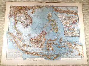 1906 Antique Map of Malaysia The Malay Peninsula Java LARGE GERMAN Lithograph