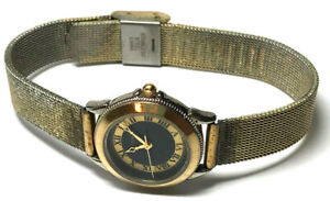 VICTORY Watch Ladies Adjustable Mesh Band Black Dial w/ Roman Numerals Gold Tone