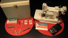 "SINGER ""WHITE"" FEATHERWEIGHT 221K SEWING MACHINE W/ CASE & ACCESSORIES - WORKS !"