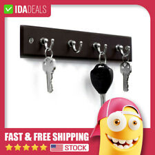4 Hooks Black Key Rack Holder Organizer Chain Hanger Easy Hang Wooden Wall Mount