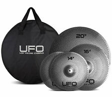 "UFO Low Volume Cymbal set with Bag UFO1 - 14"" Hi Hats, 16"" Crash & 20"" Ride"