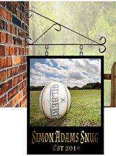Personalised Hanging Pub sign, 35 x 28 , Rugby themed Custom Man Cave Free P&P