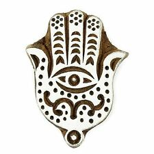 Hand of Fatima Shaped 5.8cm Indian Hand Carved Wooden Printing Block