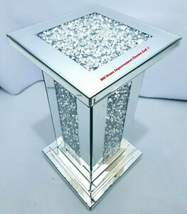 Sparkly Diamond Crush Crystal Square Side End Table Pillar Step Design Glitz