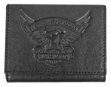 Harley-Davidson Men's Eagle Emboss Leather Tri-Fold Wallet, Black EE9052L-BLK