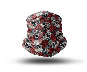 Washable Fabric Face Cover Neck Gaiter Unique Skull and Roses Design EU Made