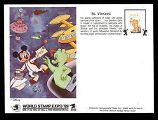 St Vincent, Souvenir Card, World Stamp Expo'89, Walt Disney, RDDAS8Z-A