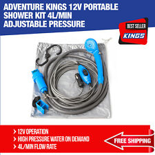 12v Portable Shower Kit 4L/min Adjustable Pressure Camping Adventure Kings