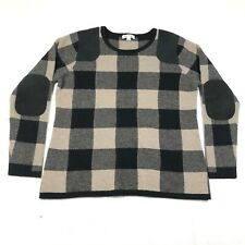 Orvis Pullover Sweater Jumper Womens M Brown Black Plaid Wool Cashmere Leather