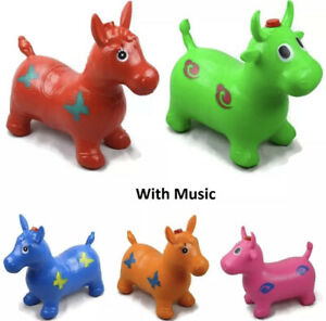Bouncing Animal Hopper Inflatable Soft Rubber Toy (Random Color) (Horse) (music)