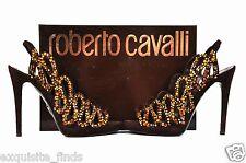 ROBERTO CAVALLI BROWN SUEDE PLATFORM  SHOES  WITH SWAROVSKI CRYSTALS 38-8