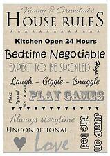 A4 Personalised Print: Grandparents House Rules Keepsake Gift (Nanny Grandad)