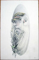 1910 Postcard: Woman with Veil - H. A. Weiss/Artist-Signed