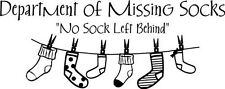 DEPARTMENT OF MISSING SOCKS LAUNDRY Lettering Wall Decal Sticker Words Vinyl