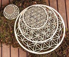 Blume des Lebens aus Holz 22 cm + Aufkleber Golgprägung 3cm +  Fensterschnur