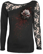 Spiral White Rose Lace Shoulder Ladies Top SKINNY Fit Large (uk 12 - 14)