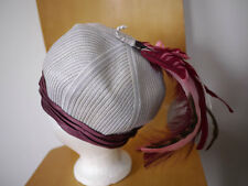 """Vintage 50s PAUL BENSAM Woven Theatrical Turban Wedding Hat w/ Feather USA 21"""""""