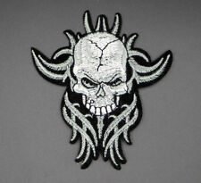 """BIKER SKULL PATCH, EMBROIDERED SKULL PATCH, APPLIQUE, 3.875""""X3.25"""" (WSGF-252)"""