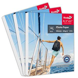 Koala 300 Sheets Premium Glossy 8.5x11 Inkjet Printer Photo Paper Epson HP 200g