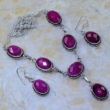 "Handmade Cherry Ruby Natural Gemstone 925 Sterling Silver Necklace 17.5"" #K62996"