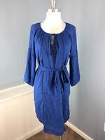 Velvet Anthropologie Dress S Spencer Graham blue Peasant dress Sash 3/4 sleeve