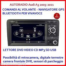 "AUTORADIO 7"" AUDI A3 2003-2011 2 DIN HD3G WIFI USB SD NAVIGATORE GPS COMANDI VOL"