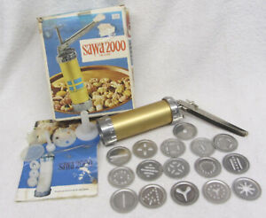 Sawa 2000 Sweden Deluxe Cookie Press Cookie Gun with Discs & Decorating Tips
