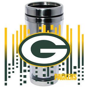 Green Bay Packers Logo Travel Mug Tumbler Stainless Steel NEW Clear Insert
