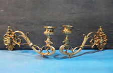 Pair of Stunning Victorian Brass Piano Sconces Candle Holders.