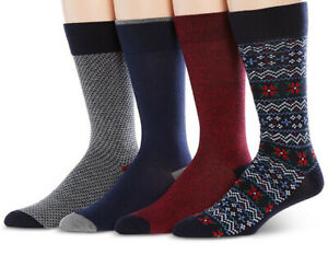 New Perry Ellis Portfolio Men's 4-Pk Fair Isle Socks, 7-12