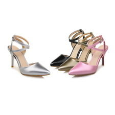 Women's High Heel Pointed Sandals Synthetic Leather Ankle Strap Pumps Shoes S169