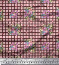Soimoi Stoff überprüfen, Blätter & Miosotis Blumen- Stoff 1 Meter- FL-1068H
