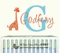 Custom Personalised Name Giraffe Animals Wall Stickers Kids Nursery Vinyl Decor
