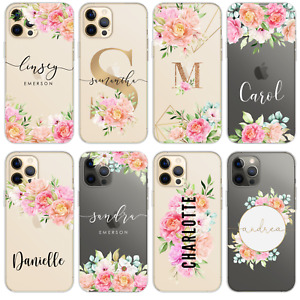 PERSONALISED PHONE CASE FOR IPHONE 11 XR 12 7 8 NAME CLEAR SILICONE CUTE FLOWERS