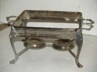 Vintage Silverplate Square Heating Serving Stand Footed 2 burners with handles