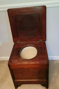 Antique Wooden Commode w/ Chamber Pot Chair Potty Toilet Box Seat