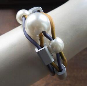 Lagenlook Purple and Mustard Chunky Rubber Bracelet from Timeless Season
