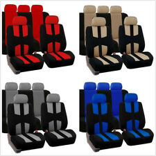 Car Full Surrounded 5 Seat Cover Set Black+Blue Durable Polyester Bird Eye Cloth