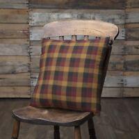 "PRIMITIVE CHECK Pillow Black/Burgundy/Mustard Country Farmhouse 16x16""  VHC"