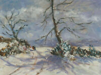 John A. Case - 20th Century Acrylic, Crisp Winter Landscape