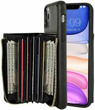 iPhone 11 Pro Max Wallet Case Shockproof Leather Zipper Card Holder Cover Black