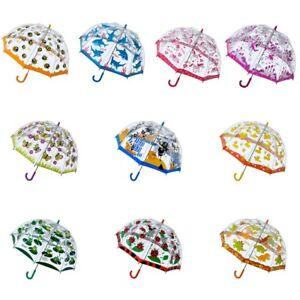 Bugzz UMBRELLA Children Kids PVC Clear Dome Design Brolly Colourful Girl Boy
